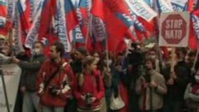 Anti-NATO demonstration in Moscow marks NATO's 58th anniversary