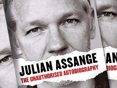 Cashed his check: Assange bio anger