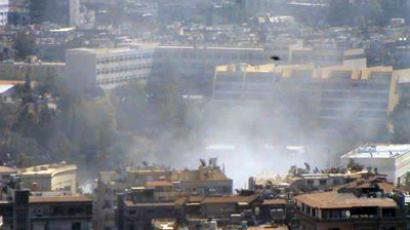 Two explosions hit Damascus, five security personnel reported killed