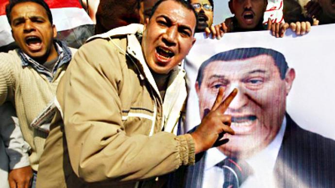 Egyptian demonstrators celebrate stamina
