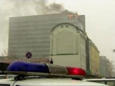 Fire halts work at Moscow office complex