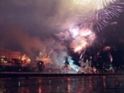 Fireworks light Russia's sky