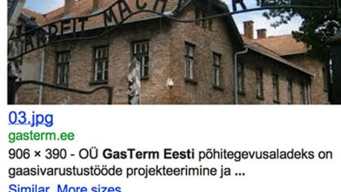 Estonian gas co. advertises with Auschwitz gate