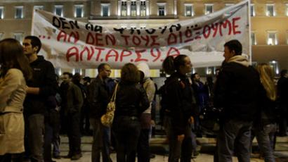 'Nazis out!' Greek protesters attack conference, throw coffee at German diplomat
