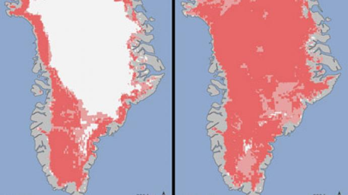 Greenhouse in Greenland: 97% of ice surface shows melting