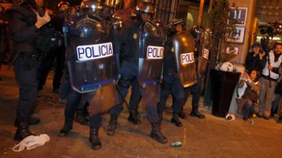 Spanish police rally against loss of Christmas bonus