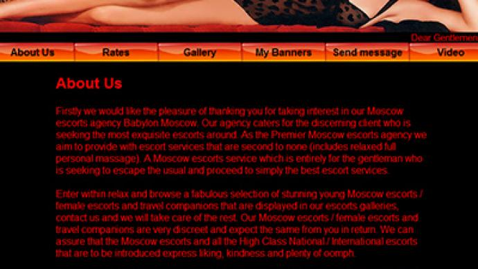 Moscow escort agency ad lists Girls Aloud as employees