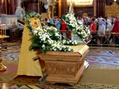 Moscow's Christians welcome holy relic from St. Petersburg