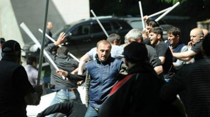 Georgian police dispersed protestors in Tbilisi