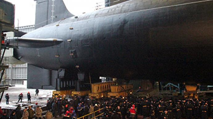 Silent sub: Russian noiseless Borei class nuclear submarine immersed