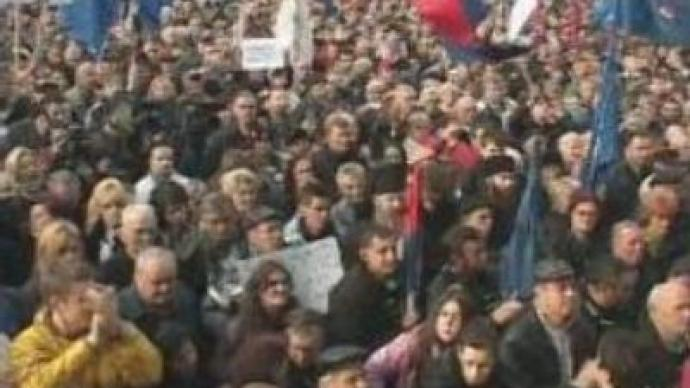 Serbs protest against UN proposals on Kosovo status