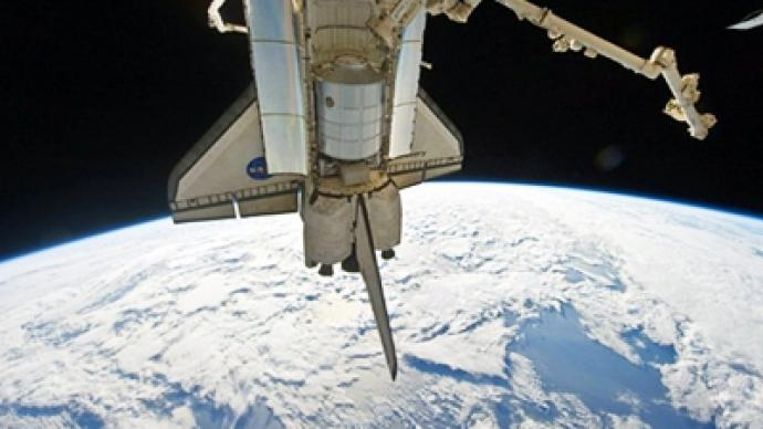 Shuttle Discovery's last docking at the ISS
