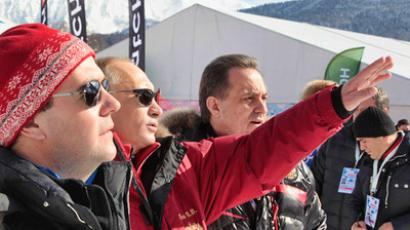Sochi patrol: Putin, Medvedev and Berlusconi assess bobsleigh track (VIDEO)