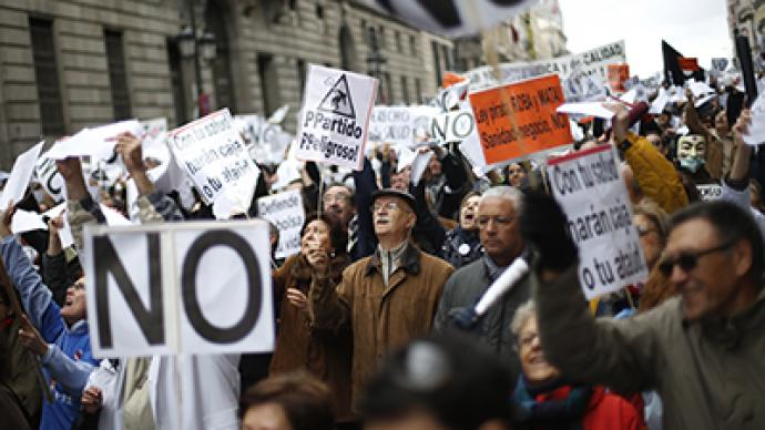 Thousands protest austerity measures in Spain