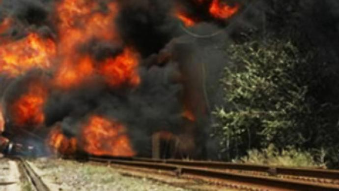 Train with liquefied gas blasted in Dagestan