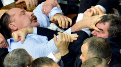 Rada riot: Ukrainian MPs exchange 'fascist' insults, start brawl (VIDEO, PHOTOS)