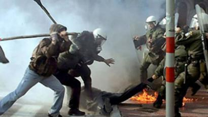 Greece rioting against EU press