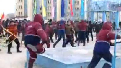 Kazakh police open fire on rioters