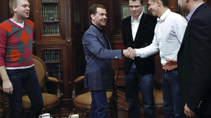 Medvedev receives stand-up comedians on April fool's day