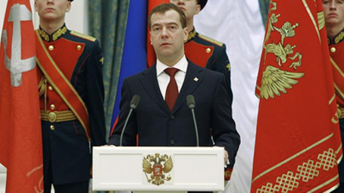 Medvedev says strength is condition for peace on main military holiday