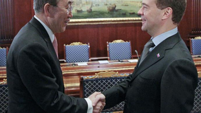 Middle East and Africa top Medvedev's talks with UN chief