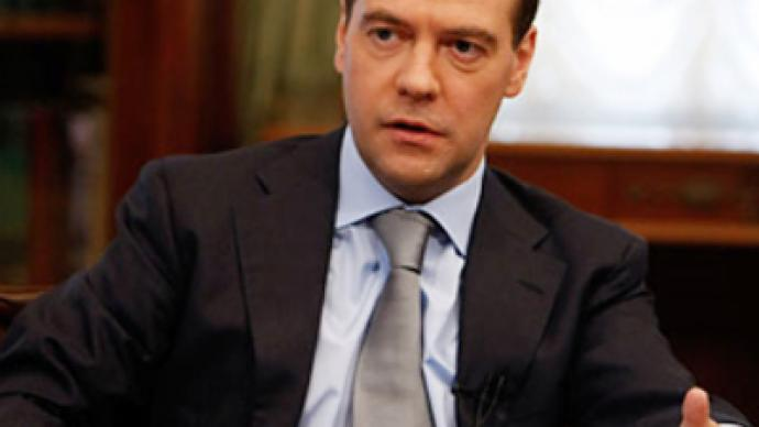 President Dmitry Medvedev talks to the Wall Street Journal