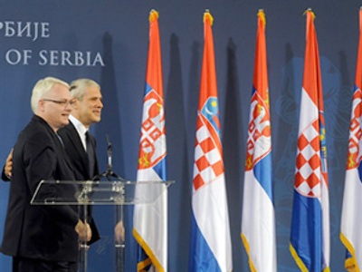 "Serbian and Croatian leaders put past behind them, meet for ""historic visit"""
