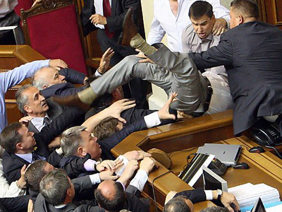 Ukrainian democracy crashes in fistfight