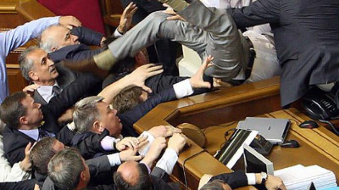 Ukrainian democracy crashes in fistfight
