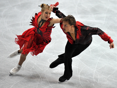 Russian figure skaters show off against Swiss backdrop