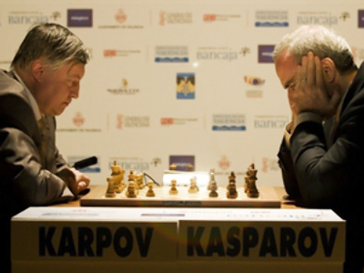 Kasparov beats Karpov in duel of chess legends
