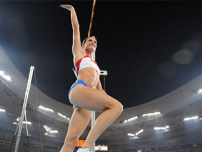 Pole vault champion sets title record