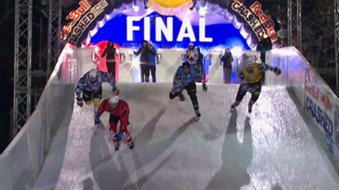 Skating daredevils brave sub-zero night in spectacular downhill event