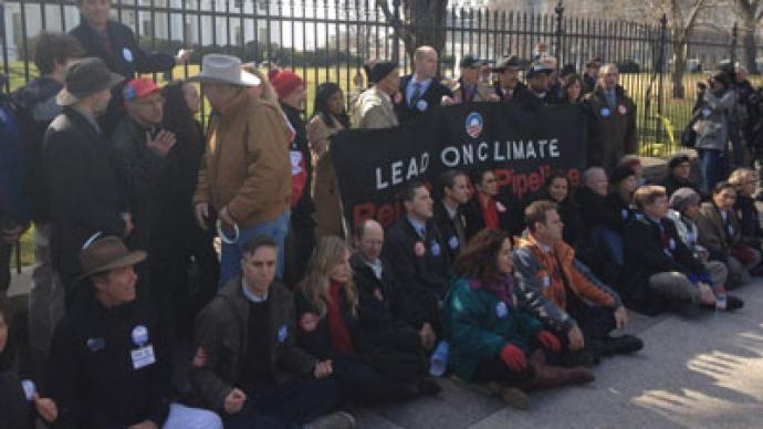 Keystone XL Pipeline protesters arrested in front of the White House