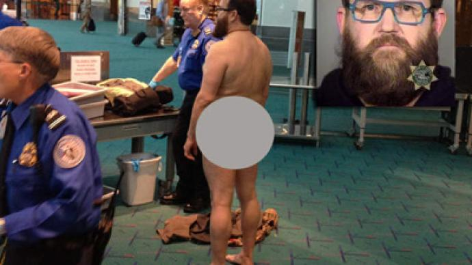 Agitated airport patron strips naked to protest TSA
