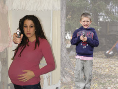 Cops conducting target practice on images of children and pregnant women