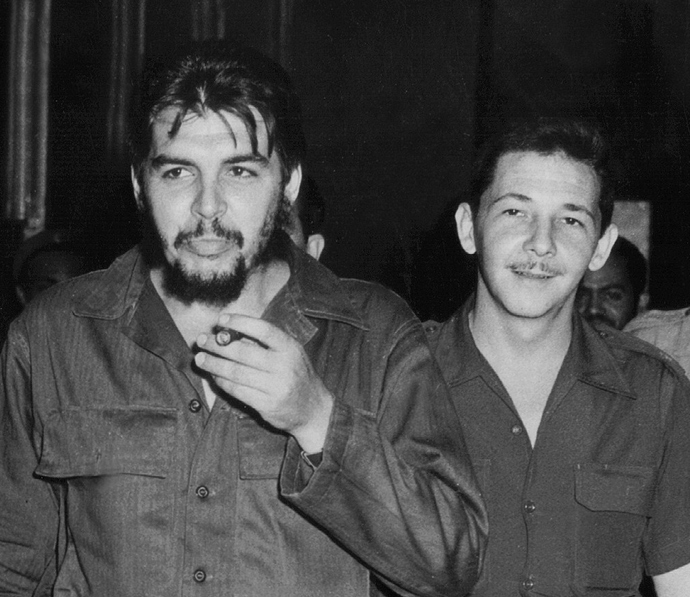 "Photograph taken on the early 60's of Commander Raul Castro (R) and Commander Ernesto ""Che"" Guevara in Havana (AFP Photo))"