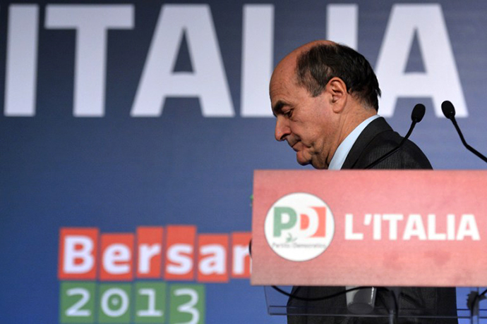Left-wing Democratic Party leader Pier Luigi Bersani. (AFP Photo / Alberto Pizzoli)