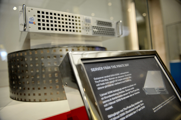 Pirate Bay's first server is displayed at the Technical Museum in Stockholm April 16, 2009. (Reuters / Scanpix Sweden)