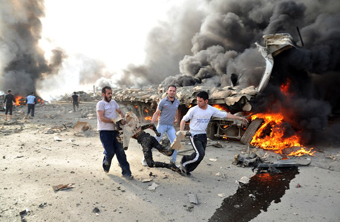 Twin blasts in Damascus on May 10, 2012. (AFP Photo / SANA)