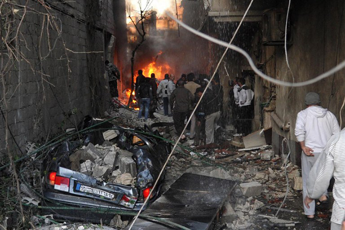 A car bomb explosion in Jaramana, a mainly Christian and Druze suburb of Damascus on November 28, 2012. (AFP Photo / SANA)