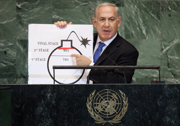 Benjamin Netanyahu, Prime Minister of Israel, points to a red line he drew on a graphic of a bomb while discussing Iran during an address to the United Nations General Assembly on September 27, 2012 in New York City (Mario Tama / Getty Images / AFP)