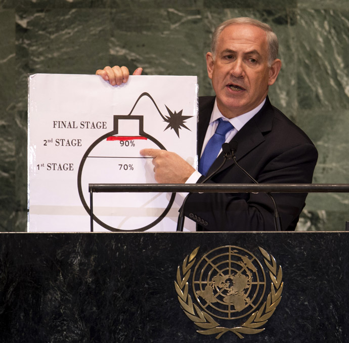 Benjamin Netanyahu, Prime Minister of Israel, uses a diagram of a bomb to describe Iran's nuclear program while delivering his address to the 67th United Nations General Assembly meeting September 27, 2012 at the United Nations in New York. (AFP Photo/Don Emmert)