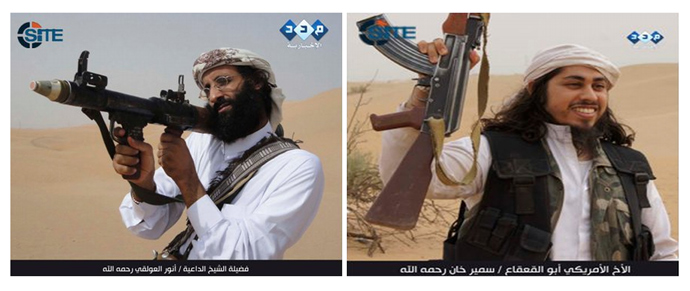 This video image released courtesy of SITE Intelligence Group, shows never-before-released pictures of Anwar al-Awlaki and Samir Khan, who were killed in a CIA drone strike on September 30, 2011 (AFP Photo / Site Intelligence Group / Handour)