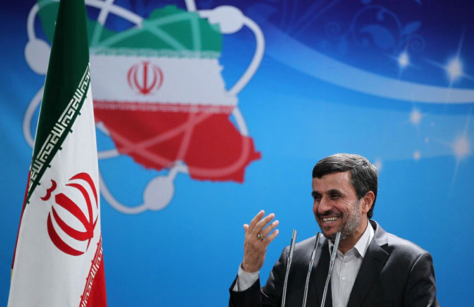 A picture released by the official website of the Iranian presidency shows President Mahmoud Ahmadinejad delivering a speech to the Iran's Atomic Energy Organisation scientists during a ceremony to mark National Nuclear Day in Tehran.(AFP Photo / Iranian Presidency Website)