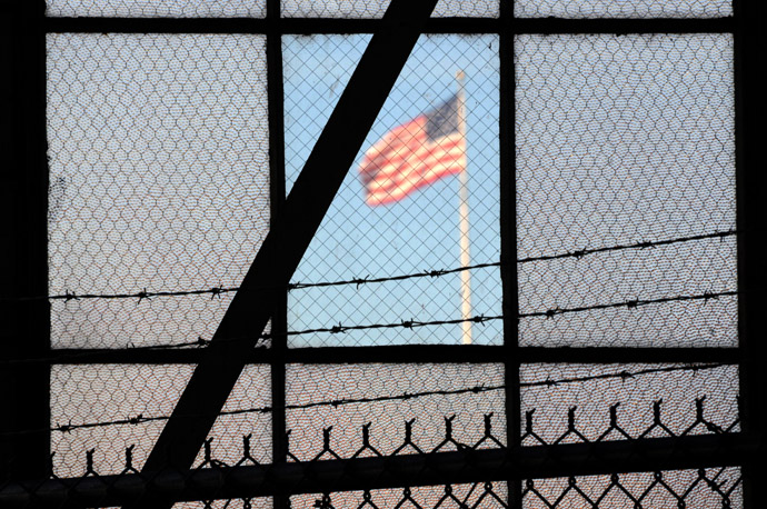 The US flag flies over the war crimes courtroom in Camp Justice in this photo taken at the US Naval Base in Guantanamo Bay, Cuba on October 18, 2012 in this photo reviewed by the US Department of Defense. (AFP Photo)