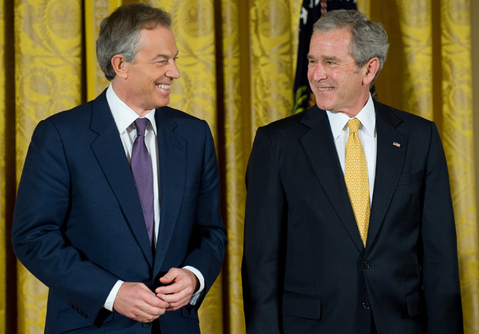 George W. Bush and Tony Blair (L) (AFP Photo/Saul Loeb)