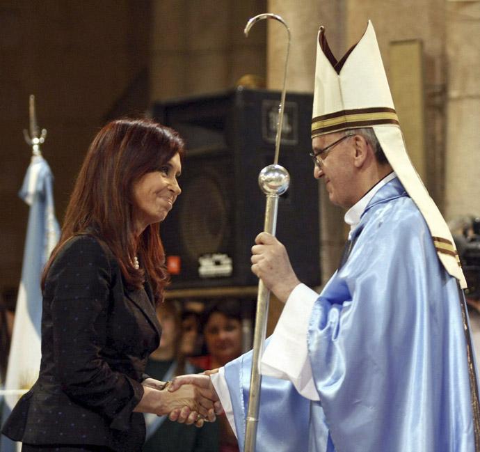 Argentine President Cristina Fernandez de Kirchner (L) greets Argentine Cardinal Jorge Bergoglio at the Basilica of Lujan, December 22, 2008. (Reuters)