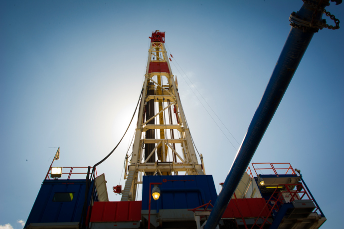 A Consol Energy Horizontal Gas Drilling Rig explores the Marcellus Shale outside the town of Waynesburg, PA on April 13, 2012 (AFP Photo / Mladen Antonov )