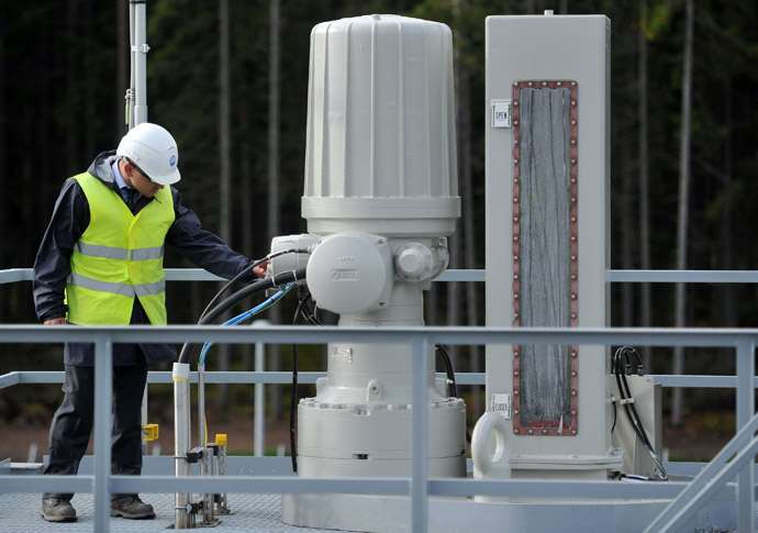 A test treatment facility at the Portovaya booster station, where the second section of the Nord Stream gas pipeline was launched. (RIA Novosti)